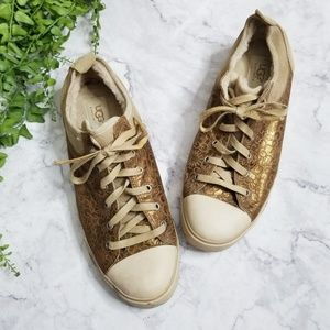 Ugg | Evera Bronze Leather Shearling Lined Sneaker